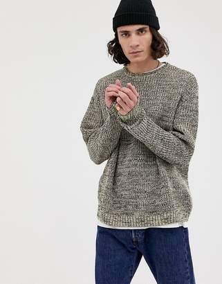 Asos Design DESIGN knitted oversized fisherman rib sweater in ecru twist