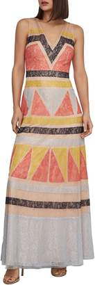 BCBGMAXAZRIA Colourblock Lace Maxi Dress