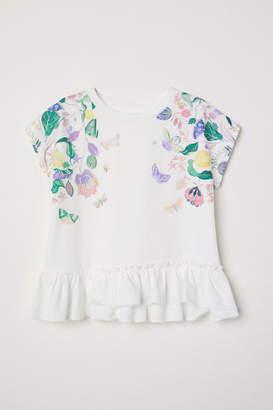 H&M Short-sleeved Flounced Top - White