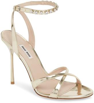 Miu Miu Embellished Metallic Sandal