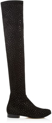 Jimmy Choo MYREN FLAT Black Strech Suede Over The Knee Boots with Scattered Crystals