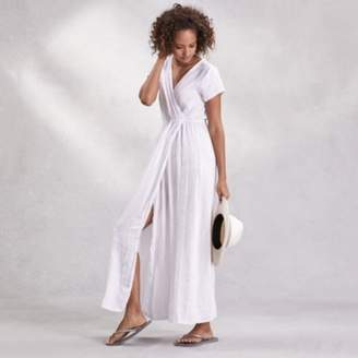 The White Company Linen Wrap Front Maxi Dress, White, Large