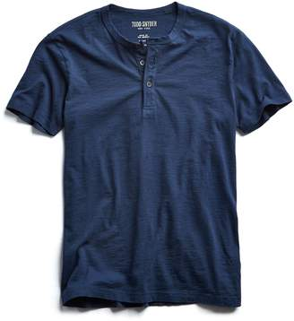 Todd Snyder Made in L.A. Slub Jersey Short Sleeve Henley in Navy