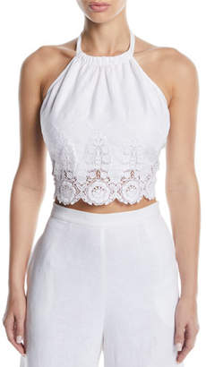 Miguelina Jasper Halter Embroidered Crop Top