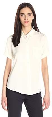 Theory Women's Uniform Silk Short Sleeve Button Down Blouse