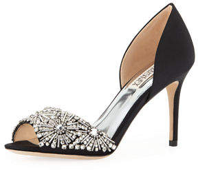 Badgley Mischka Maria Embellished Peep-Toe Pump