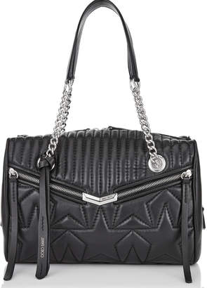 Jimmy Choo HELIA BOWLING Black and Silver Leather Bag with Star Matelasse