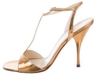 Saint Laurent Metallic T-Strap Sandals