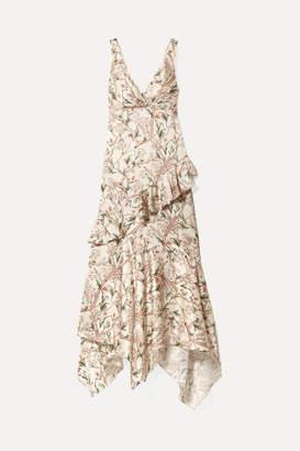 Johanna Ortiz Divine Intervention Ruffled Asymmetric Printed Silk-satin Maxi Dress - Ecru