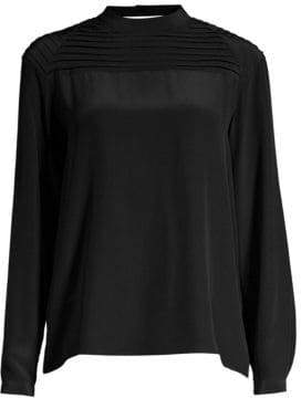 J Brand Lindsay Silk Pleated Blouse