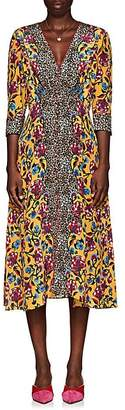 Saloni Women's Eve Leopard-Floral V-Neck Midi-Dress
