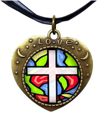 Glass Heart GiftJewelryShop Bronze Retro Style Religious Stained Lover Moom Star Pendant Charm Necklaces