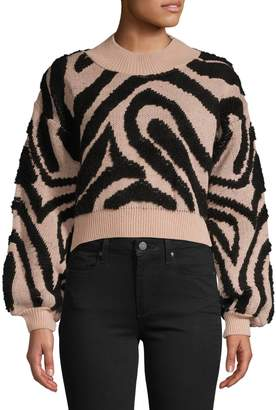 Topshop Wave-Print Knit Cropped Sweater