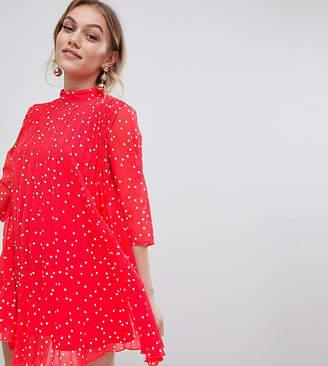 Asos DESIGN Petite pleated high neck mini dress in star print