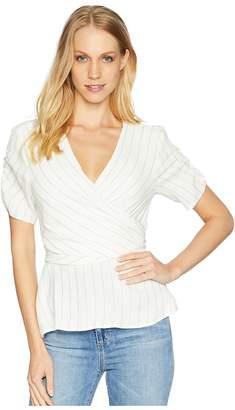 1 STATE 1.STATE Ticking Stripe Wrap Top w/ Tie Back Women's Blouse