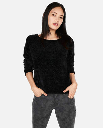 Express Velvet Chenille Bateau Neck Sweater