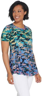 Logo By Lori Goldstein LOGO by Lori Goldstein Printed Camo Knit Top w/ Ruffle Hem