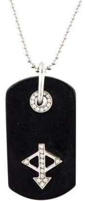 Gucci 18K Diamond & Leather Dog Tag Pendant Necklace