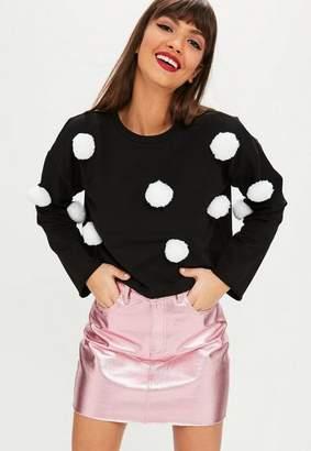 Missguided Black Pom Pom Cropped Sweatshirt