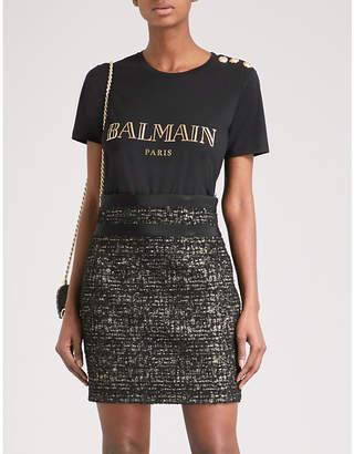 Balmain Womens Black Metallic Logo-Print Cotton-Jersey Short Sleeve T-Shirt