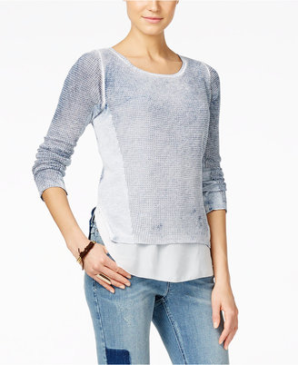 INC International Concepts Acid-Wash Layered-Look Sweater, Only at Macy's $79.50 thestylecure.com