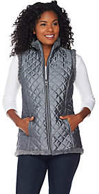 Denim & Co. Reversible Zip Front Textured FauxFur & Quilted