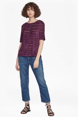French Connenction Bernice Velvet Stripe Jersey T-Shirt