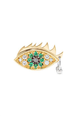 Delfina Delettrez 18-karat Yellow And White Gold, Emerald And Diamond Earring