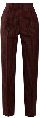 Balenciaga - Tapered Checked Wool Trousers - Womens - Burgundy Multi