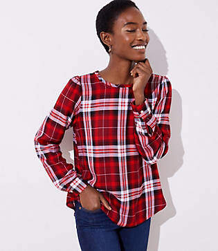 LOFT Plaid Shirttail Hem Blouse