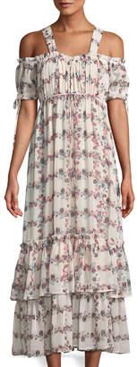 Endless Rose Fence-Of-Roses Cold-Shoulder Maxi Dress