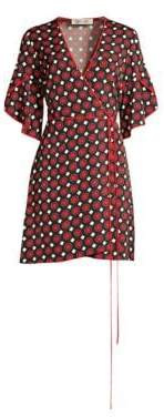 Diane von Furstenberg Cinnamon Geometric Kimono Sleeve Wrap Dress