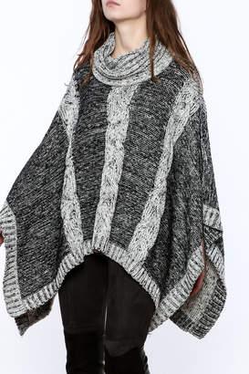 Elan International Knitted Cowl Neck Poncho