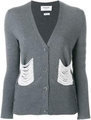 Thom Browne Pearl Embroidered Merino V-Neck Cardigan
