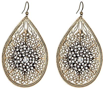 Blu Bijoux Crystal Cluster Filigree Earrings
