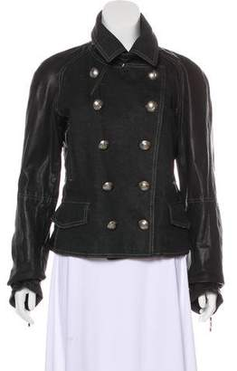 Christian Dior Leather-Accented Button-Up Jacket