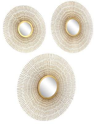 DecMode Decmode Modern Tin And Glass Round Gold Wire Sunburst Wall Mirrors, Gold - Set of 3