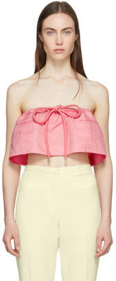 Carven Pink Strapless Chintz Ottoman Cropped Top