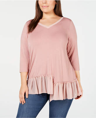 NY Collection Plus Size Asymmetric Ruffle-Hem Top