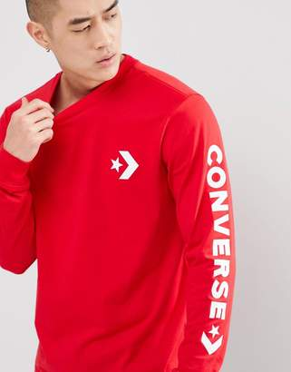 Converse Star Chevron Wordmark Long Sleeve Tee In Red 10006013-A06
