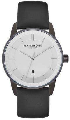 Kenneth Cole New York Men's Quartz Stainless Steel & Leather Casual Strap Watch, 42mm