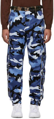 Valentino Blue Camouflage Cargo Trousers