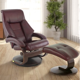 Mandal OSLO COLLECTION Oslo Collection by Mac Motion Recliner and Ottoman in Merlot Top Grain Leather