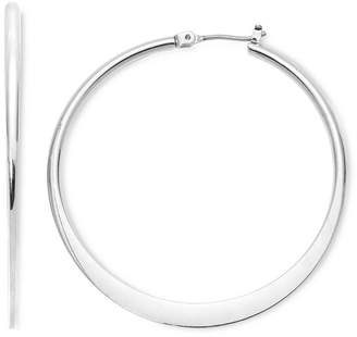 MIXIT Mixit Large Silver-Tone Flat Hoop Earrings
