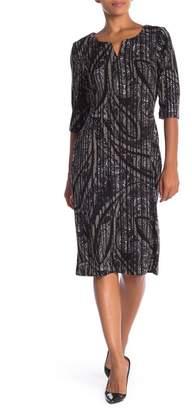 Connected Apparel 3\u002F4 Sleeve Tweed Knit Dress