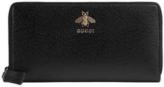 Gucci Animalier leather zip around wallet