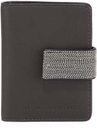 Brunello Cucinelli Mini Leather and Monili Card Holder