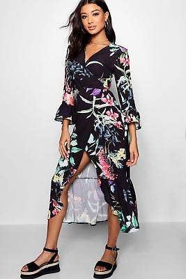 boohoo NEW Womens Floral Ruffle Maxi Dress in