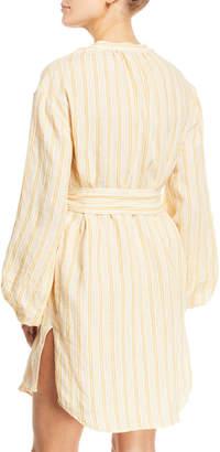 Joie Beatrissa Striped Blouson-Sleeve Shirtdress