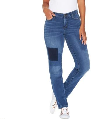 Isaac Mizrahi Live! Petite TRUE DENIM Removed Patch Jeans